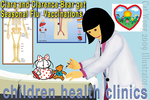 Children's characters CLARA with her yound friend CLARENCE BEAR at Doctor's office getting H1N1 aka Swine Flu Shot