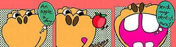 Cartoon Dinosaur says - an apple a day - send my dentist away, fr illustrator Tony Yau HK `1995